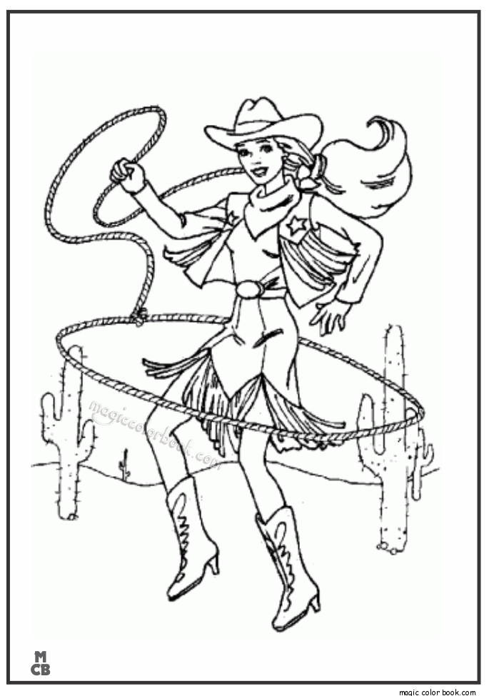 Cowgirl Cowboy Coloring Pages - Coloring Home
