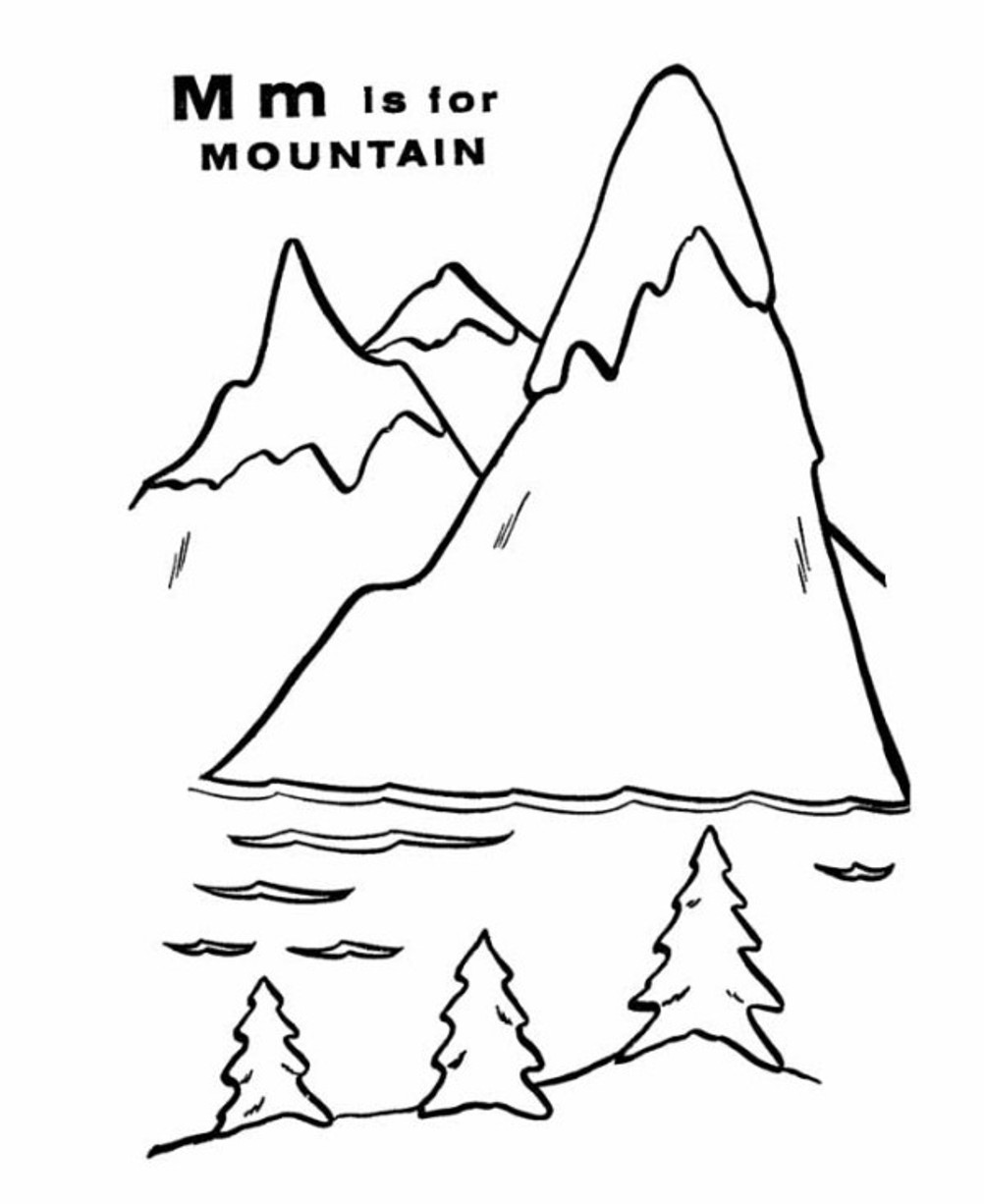 Mountain Free Alphabet Coloring Pages