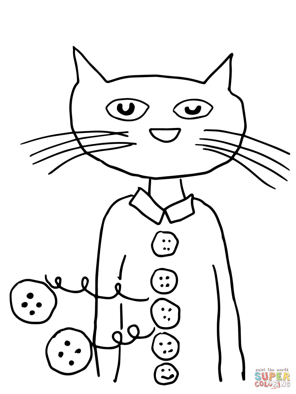 photograph relating to Pete the Cat Printable named Pete The Cat Groovy Buttons Coloring Site No cost Printable