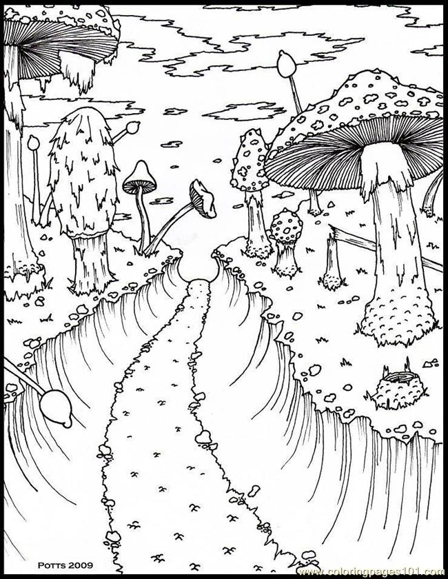 Coloring Pages Hthroughmushroomforestsmall 1 (Natural World