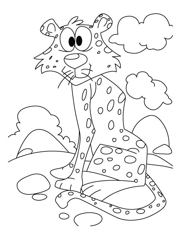 Cheetah waiting for someone coloring pages | Download Free Cheetah ...