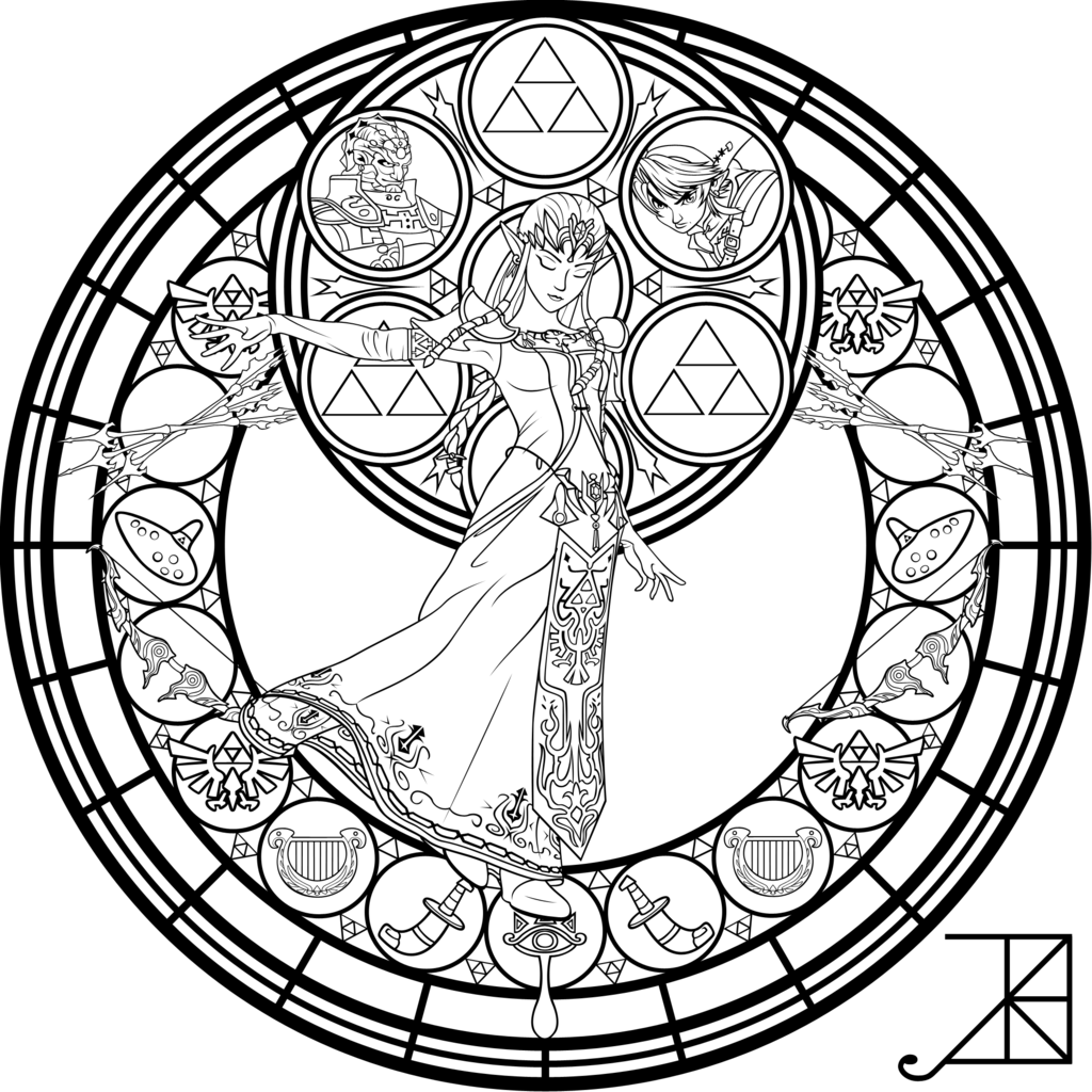 12 pics of legend of zelda stained glass coloring pages disney - Stained Glass Coloring Pages