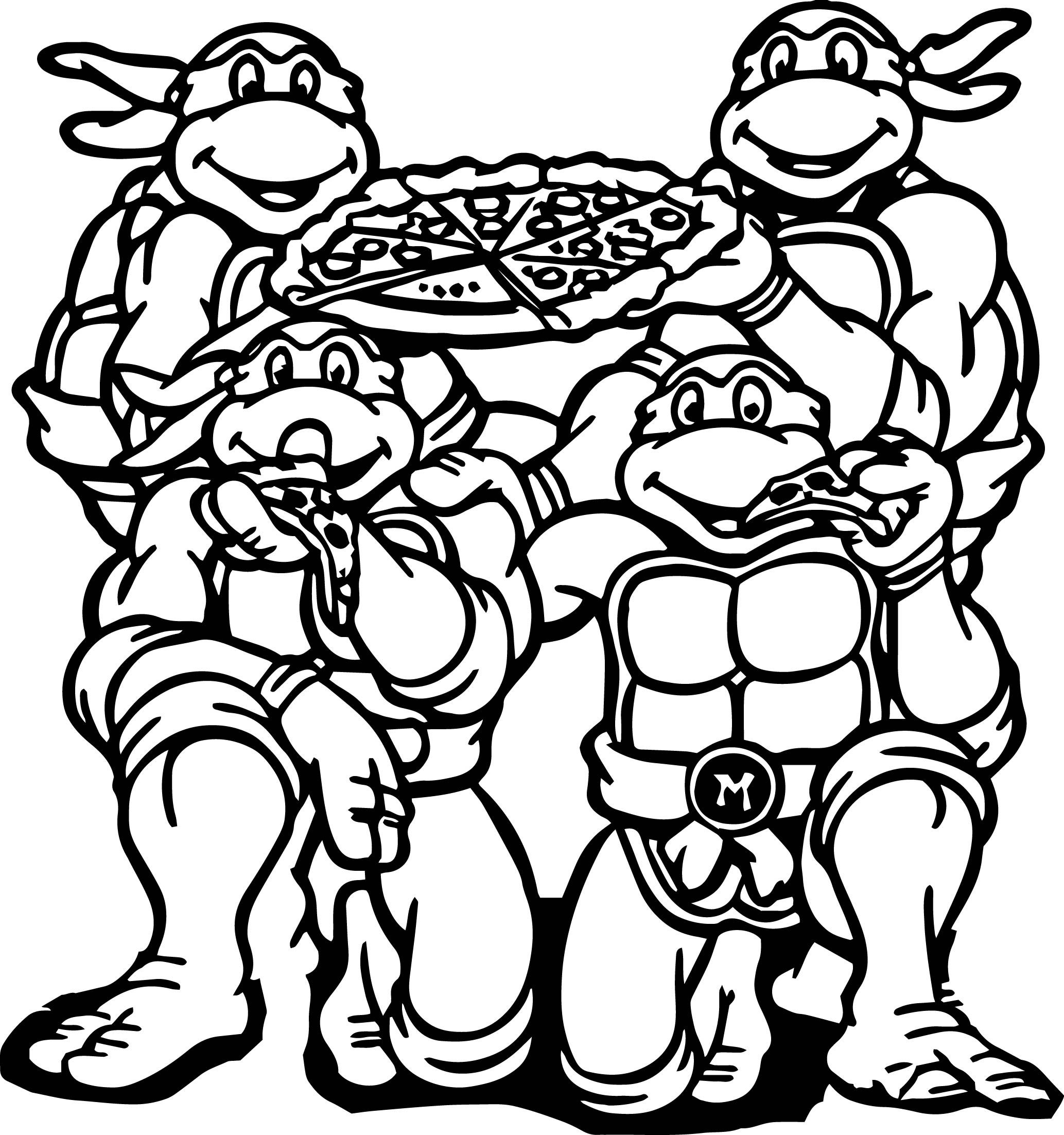ninja turtles michelangelo ninja turtle eat pizza coloring page