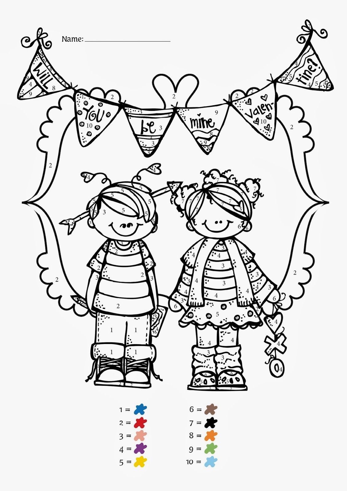 Coloring Book Code : Valentines Day Coloring Pages Color By Code Coloring Home