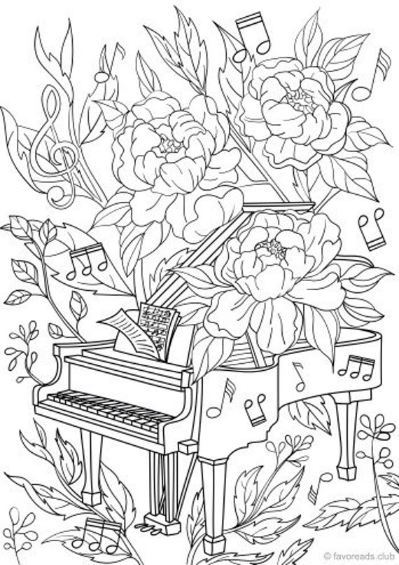 Piano - Printable Adult Coloring Page from Favoreads (Coloring book pages  for adults and kids, Coloring sheets, Colouring designs)