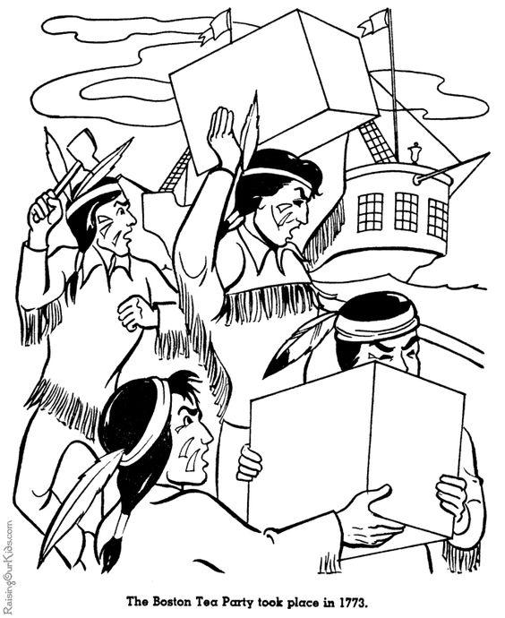 boston tea party coloring pages cartoonrockscom
