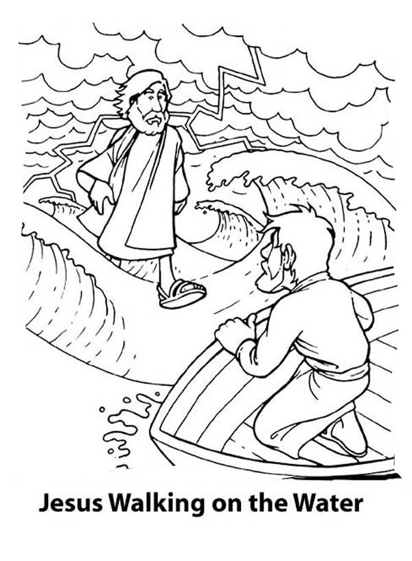 walking on water coloring pages - photo#11