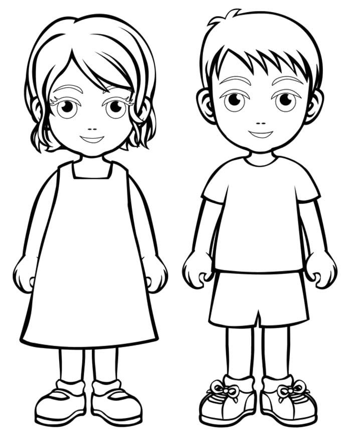 Coloring Pages For Girls: Coloring Page Boy And Girl