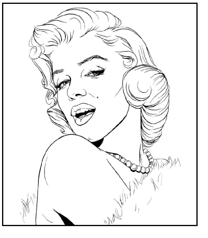 Pin Up Girl Coloring Pages AZ