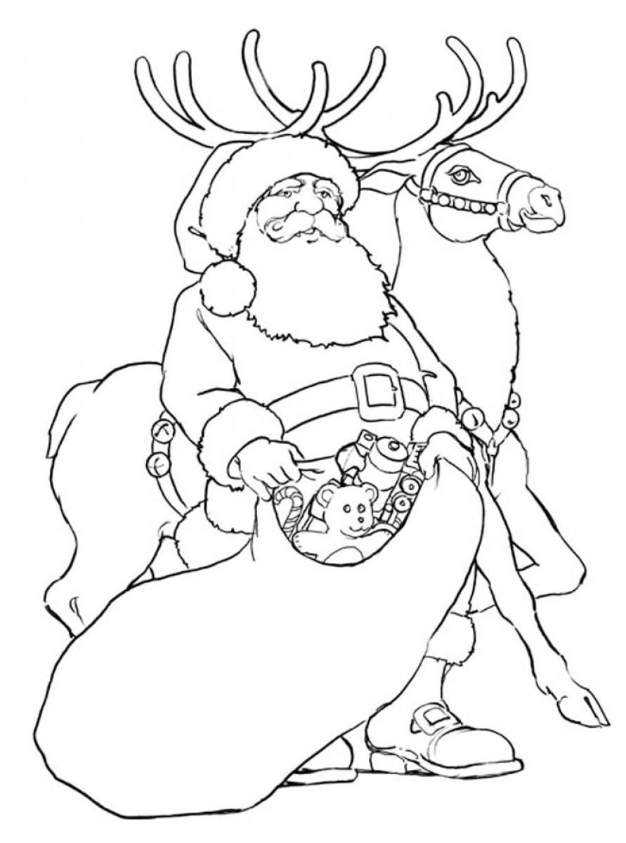 Rudolph reindeer coloring page santa coloring home for Santa with reindeer coloring pages