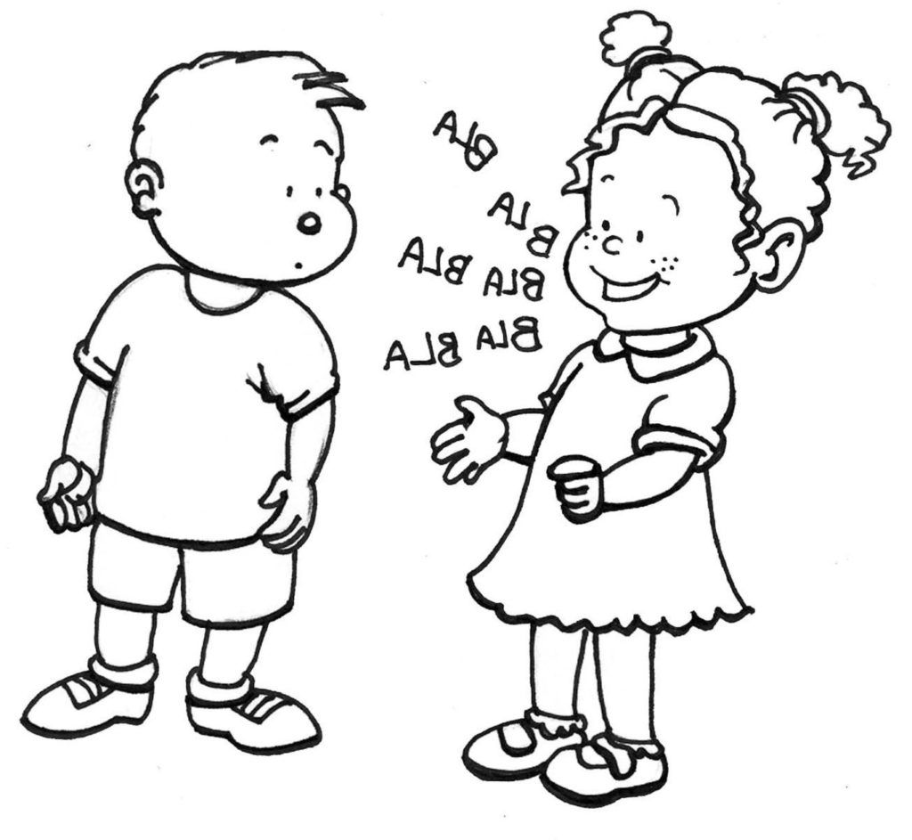 coloring pages kids talking - photo#5