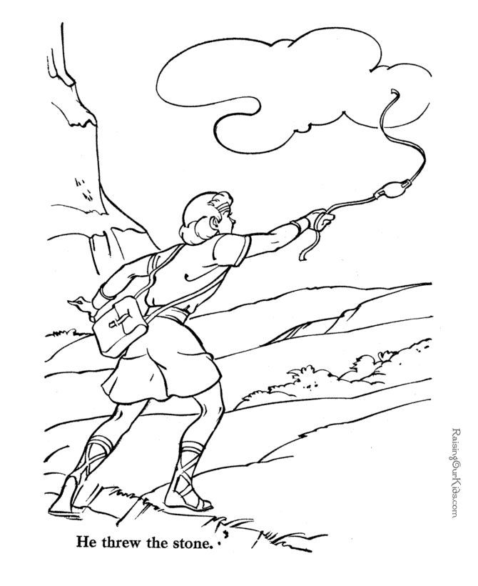 David And King Saul In The Cave Coloring Page