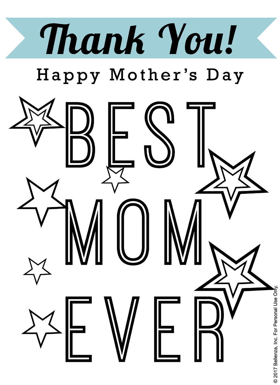 "Best Mom Ever!"" Printable Mother's Day Coloring Sheets"
