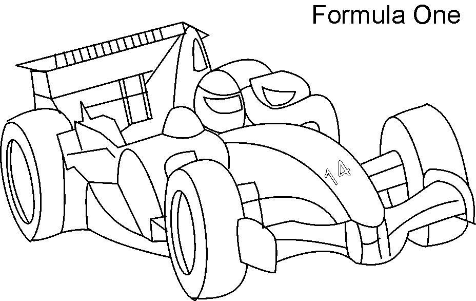 Super car - F1 coloring page for kids