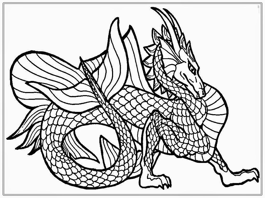 Dragon coloring printouts - Dragon Coloring Pages For Adults To Download And Print For Free