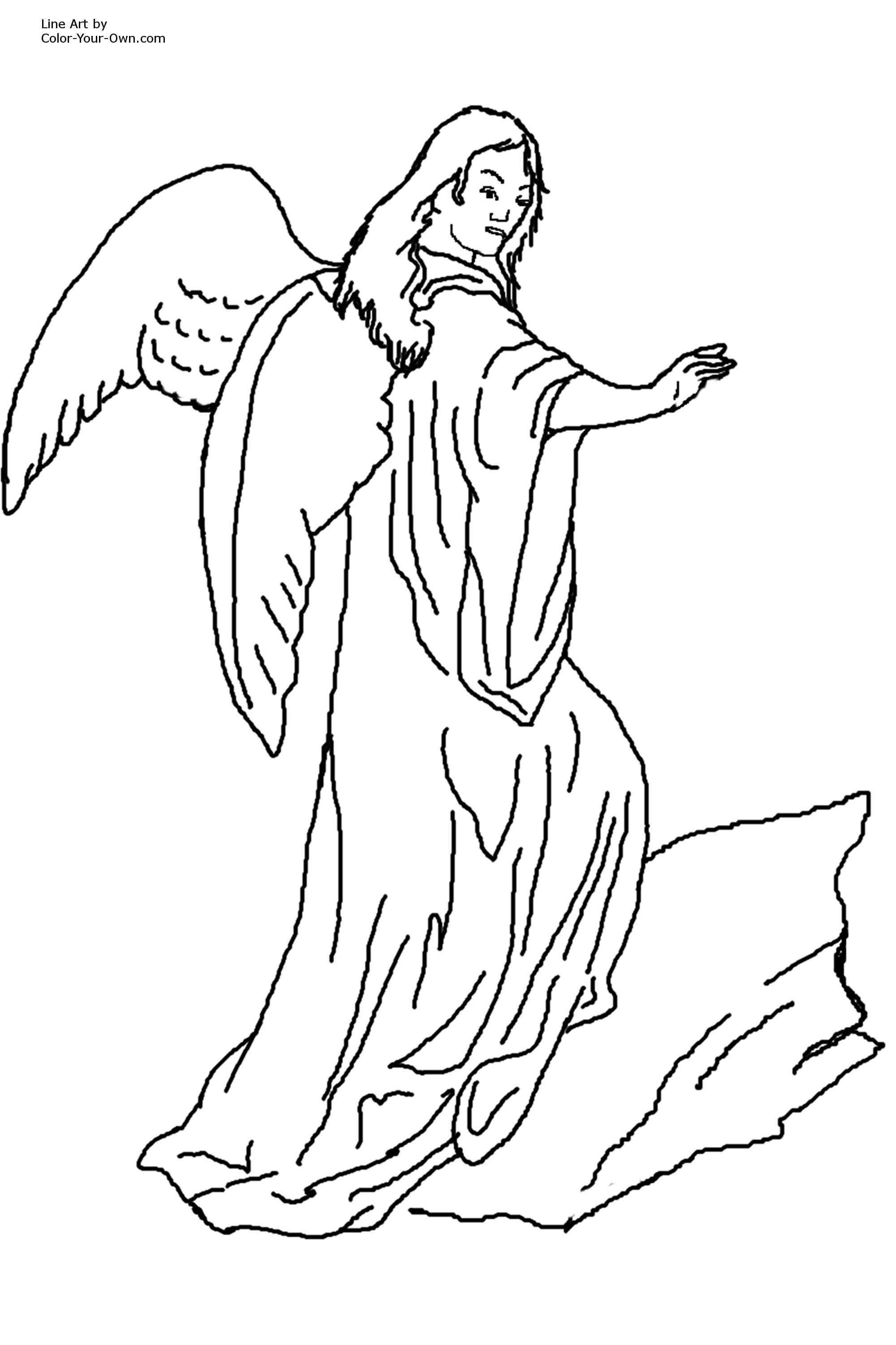 Printable Adult Coloring Page Of Angels Coloring Home