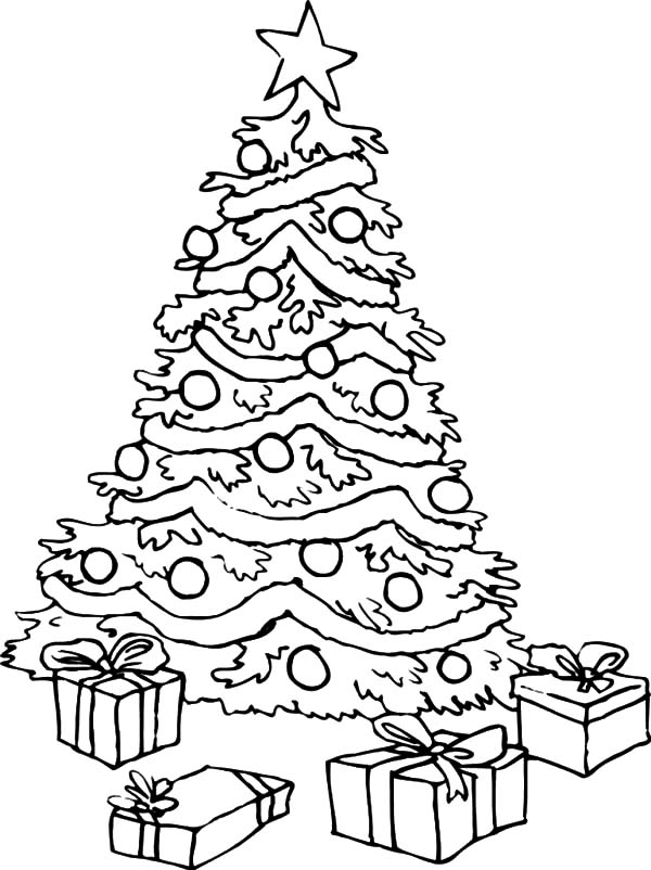 Christmas Tree With Presents Coloring Page Az Coloring Pages Coloring Page Of Tree With Presents