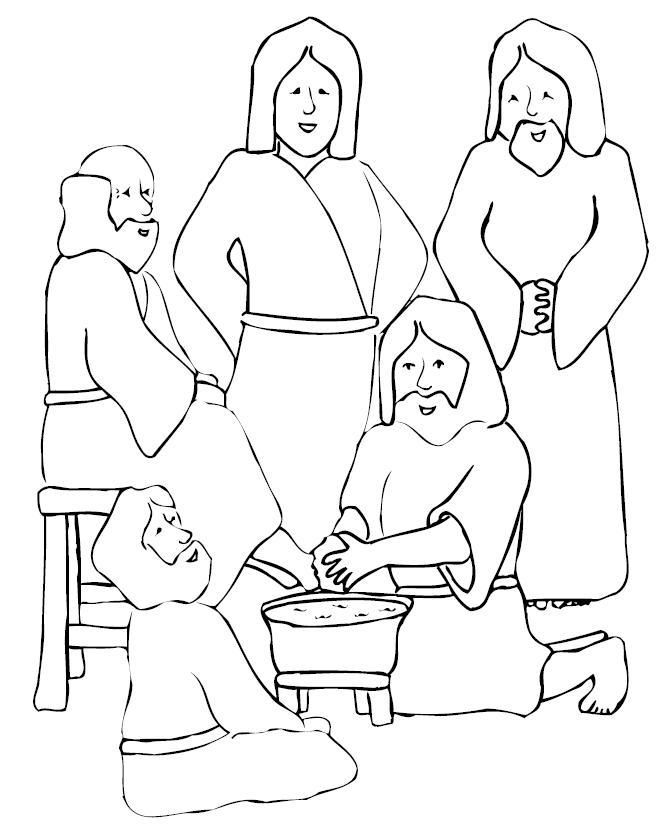 Sunday School Coloring Pages - Jesus Washes His Disciple's Feet | 830x667