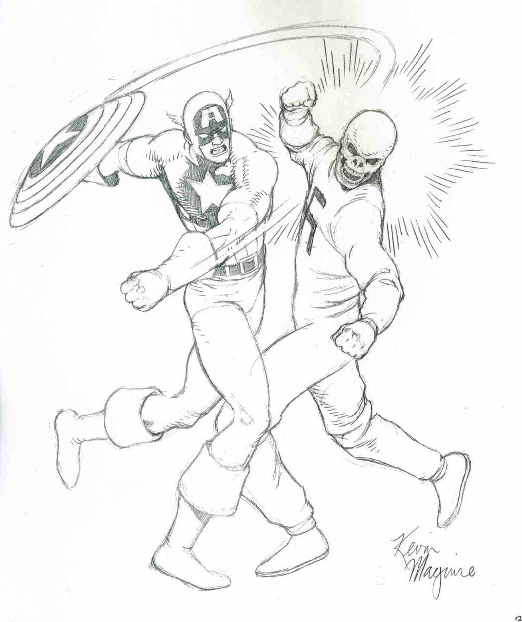 Captain America vs. the Red Skull : Kevin Maguire, in Michael Rankins's  Pencil Originals for Inking Commissions Comic Art Gallery Room