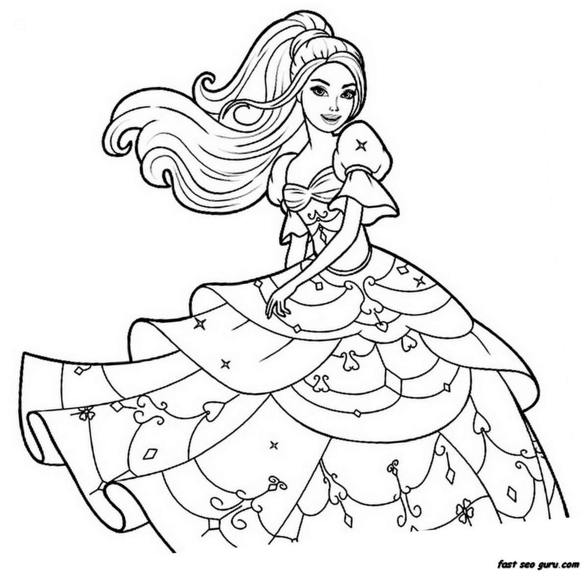 Barbie Princess Printable Coloring Pages - Coloring Home