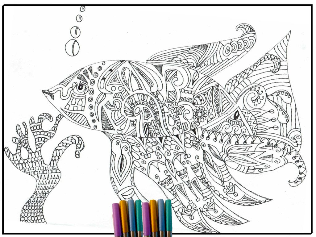 Detailed fish coloring pages coloring home for Adult fish coloring pages