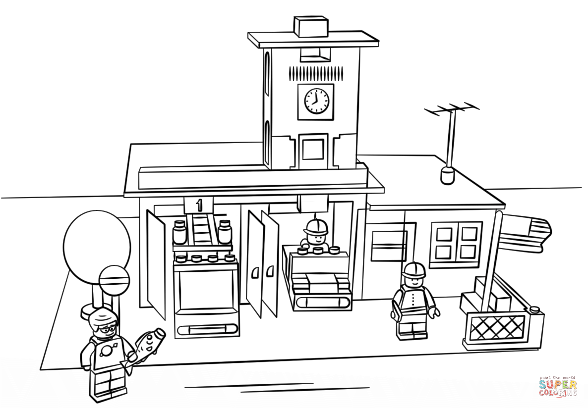 Lego Fire Station Coloring Page Free Printable Coloring Pages Coloring Home