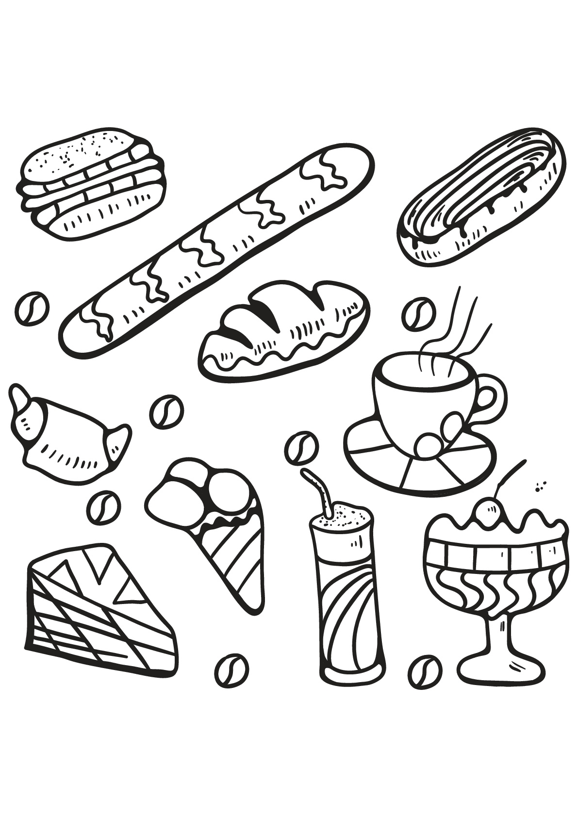 Food - Coloring Pages for Adults