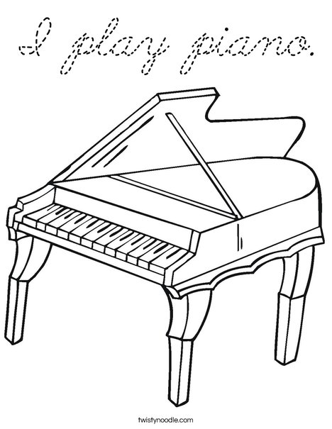 I play piano Coloring Page - Cursive - Twisty Noodle