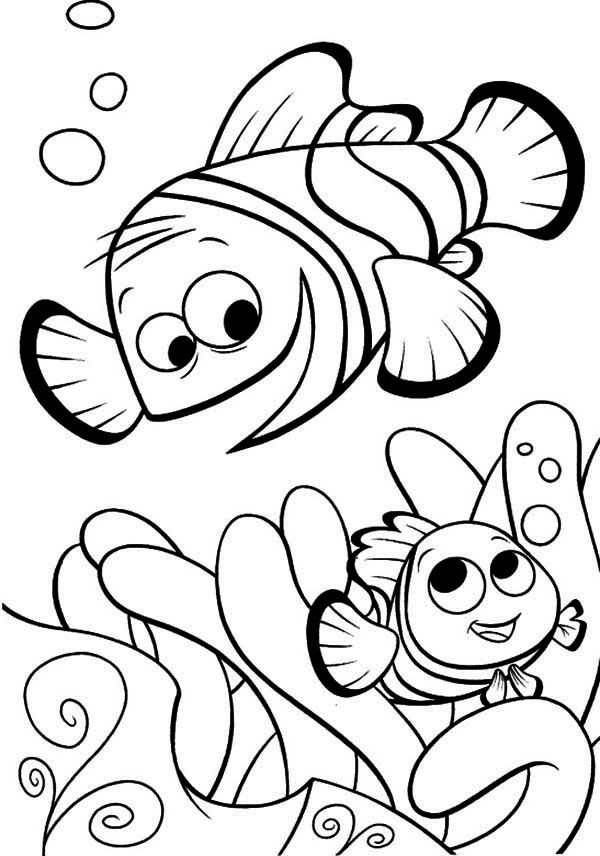 Marlin and Nemo are Having Fun Together in Finding Nemo Coloring ...