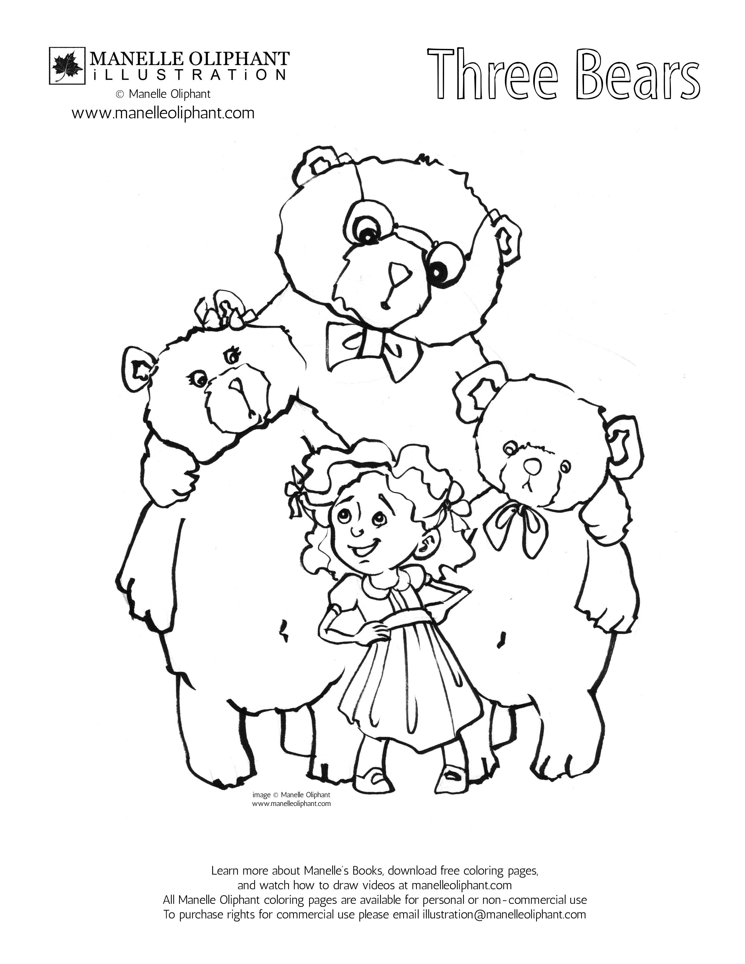 Manelle Oliphant Illustration Free Coloring Page Friday: Three ...