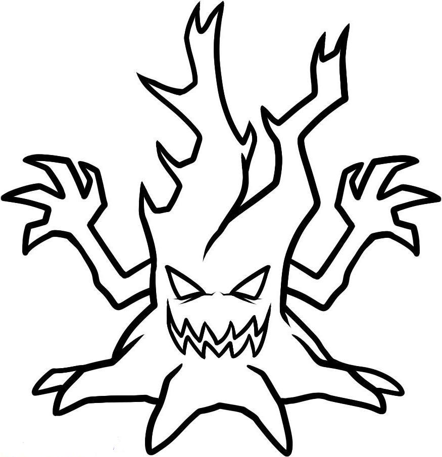 Print Scary Halloween Tree Coloring Pages Or Download