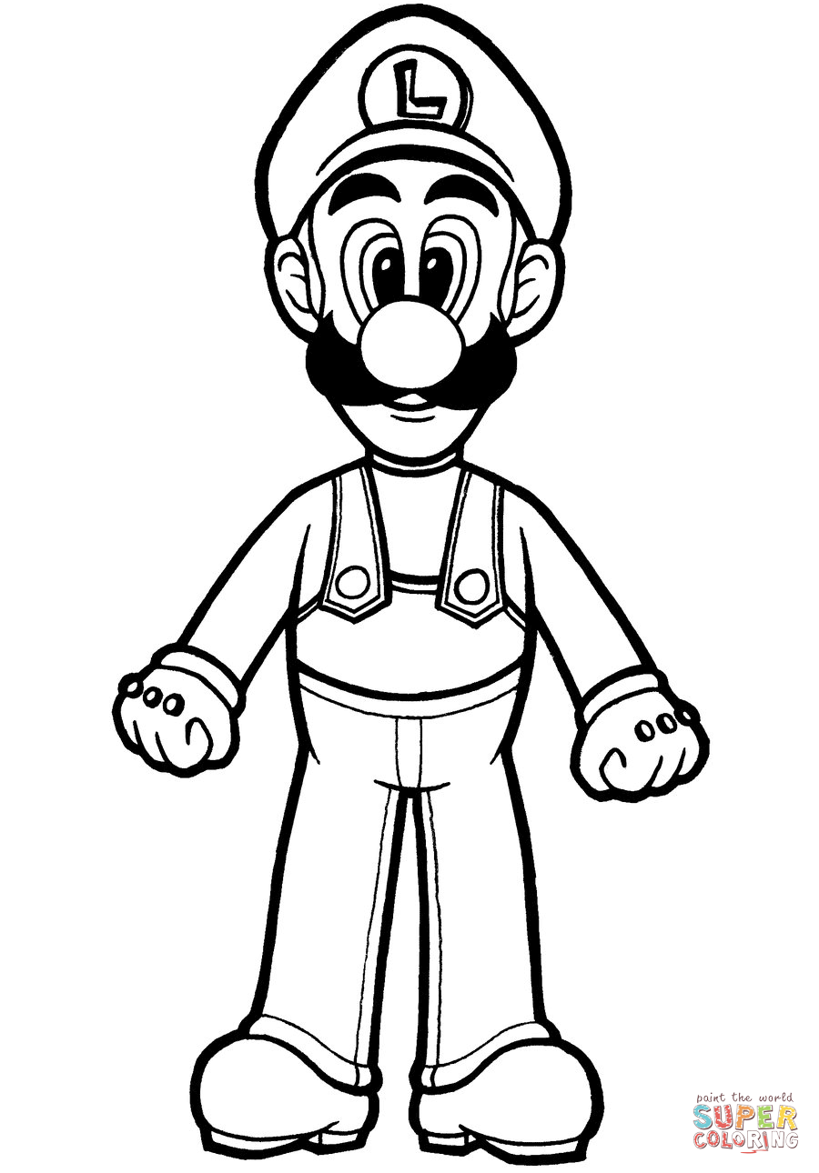 Mario Bros Luigi Coloring Pages
