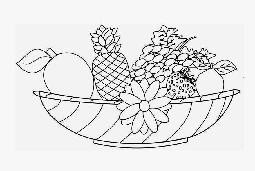 Coloring pages of fruit basket coloring home for Fruit coloring pages for adults