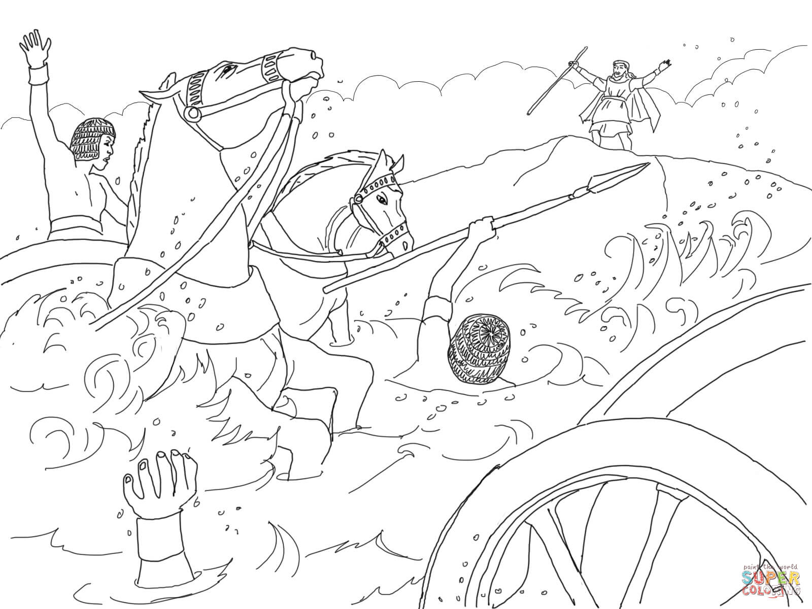 moses coloring pages red sea crossing location | Coloring Pages Crossing The Red Sea - Coloring Home