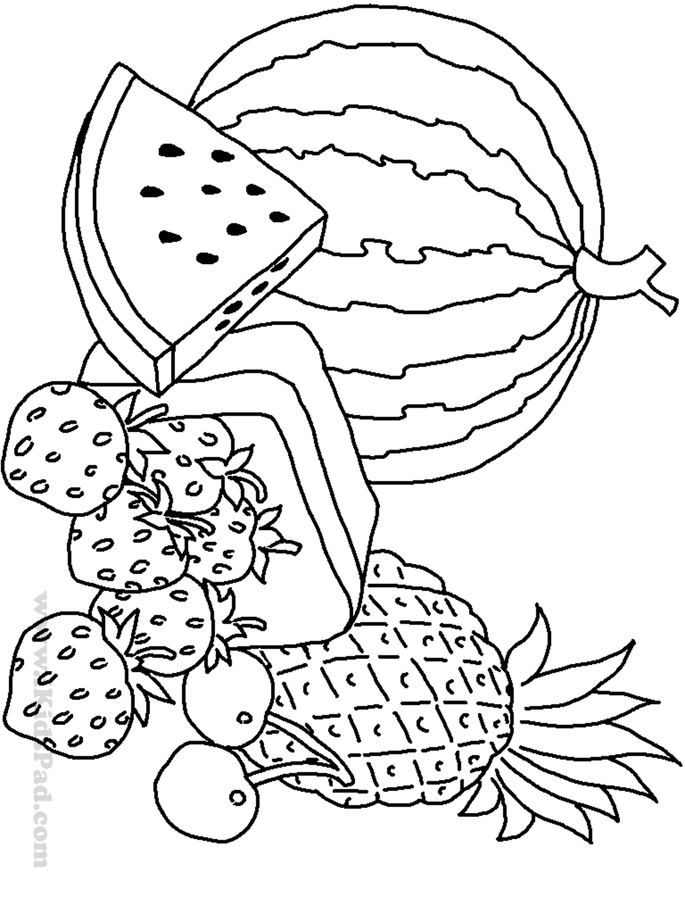 Fruits And Vegetables Coloring Pages For Kids Printable ...