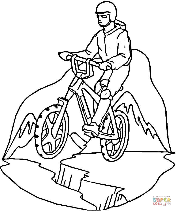 Riding Mountain Bike Coloring Page | Free Printable