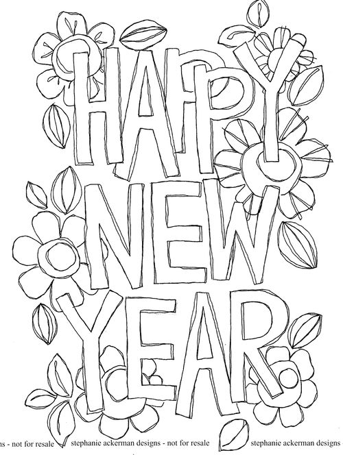Happy New Year Coloring Page Coloring Home