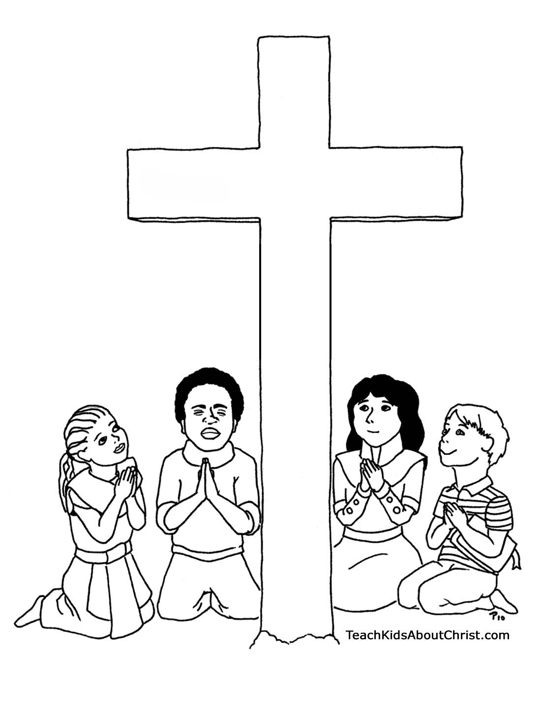 Clip Art Children Praying Coloring Page children praying coloring page az pages with cross teach kids about christ
