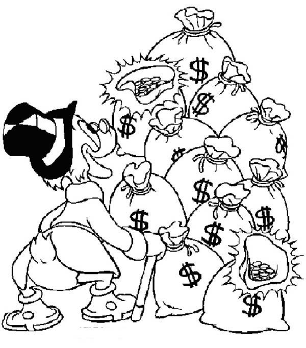 Scrooge Mcduck Love To See A Lot Of Money Bag Coloring Page Kids