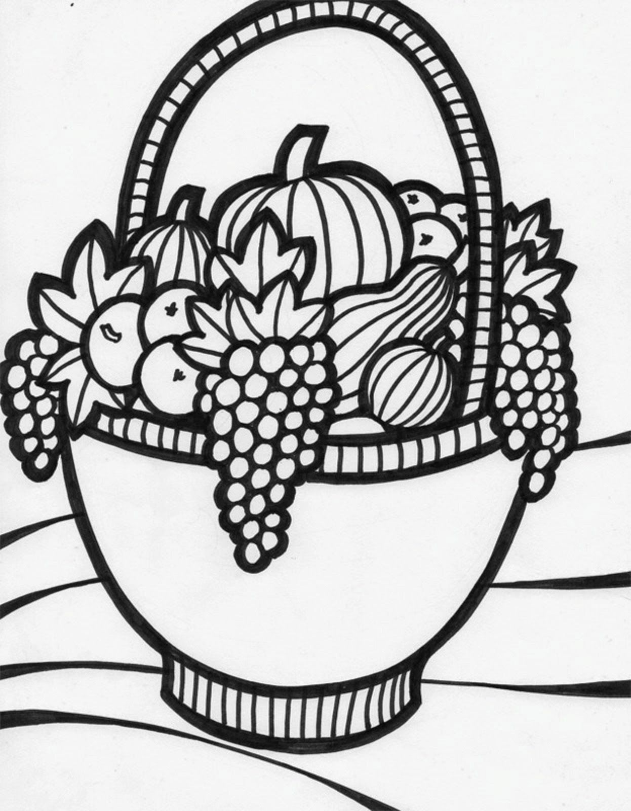 Coloring Pages Of A Bowl Of Fruit Coloring Home