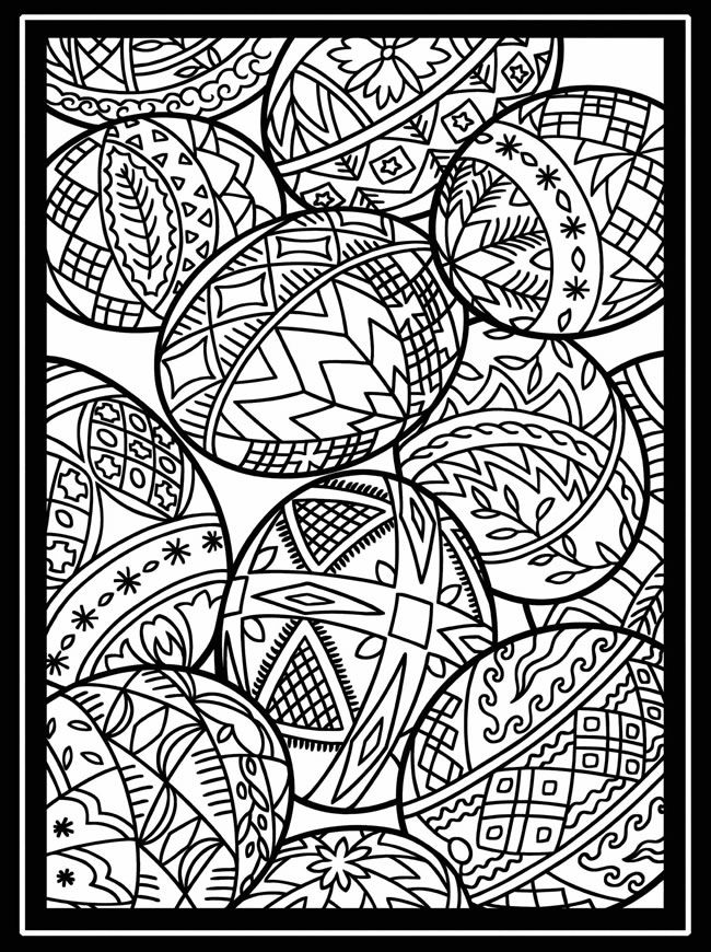 Decorative Easter Egg with Pysanka Ukrainian Coloring Page - Free ... | 870x650
