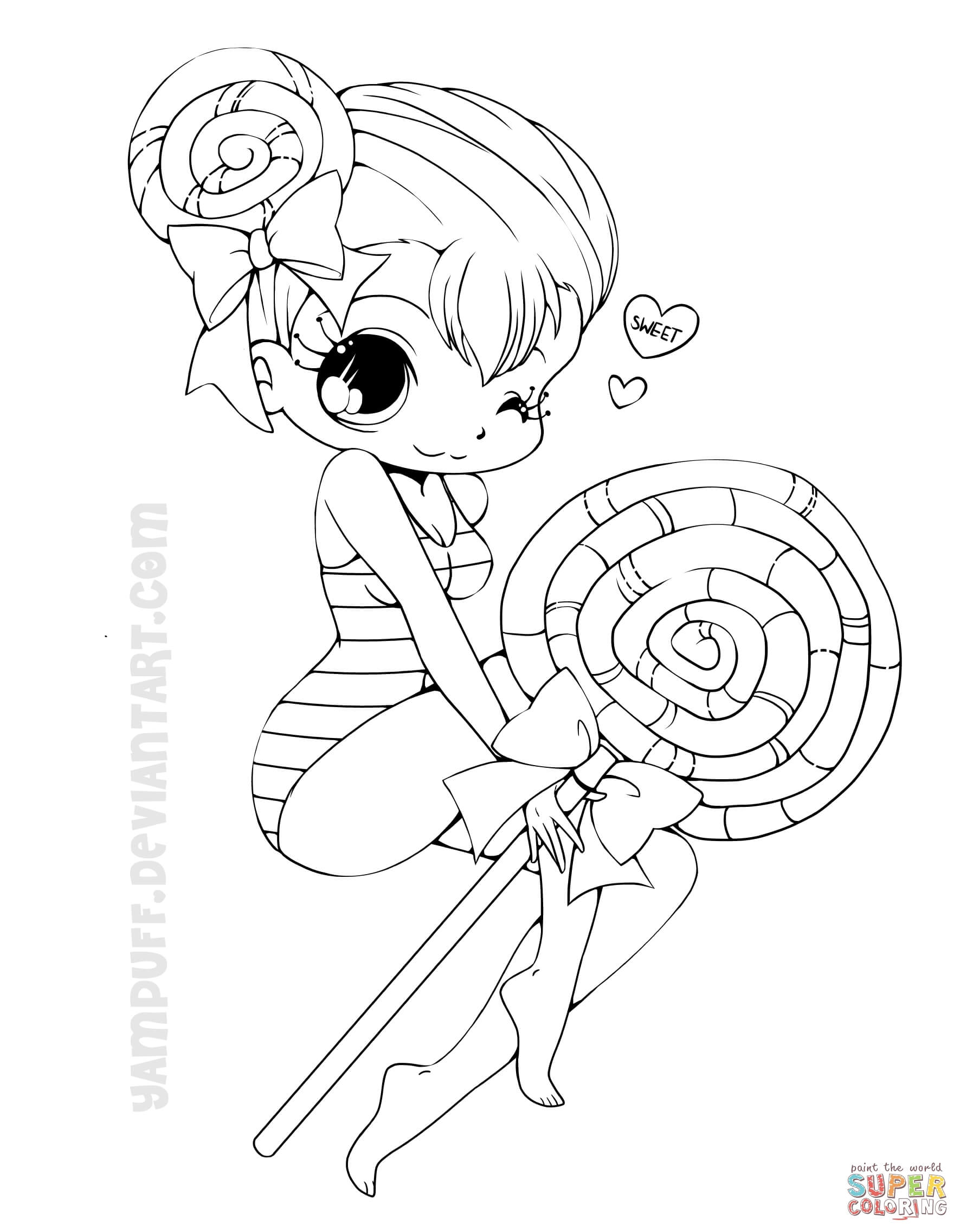 35 Most Magic Chibi Lollipop Girl Coloring Page Free Anime ...