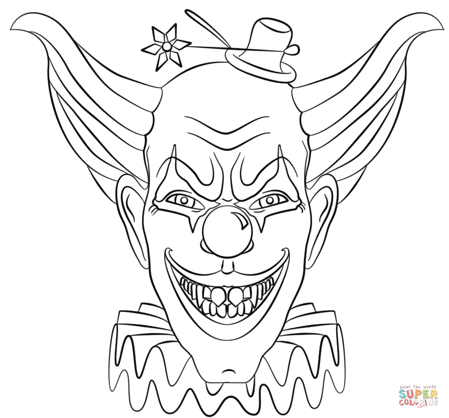 evil clown face coloring page free printable coloring pages