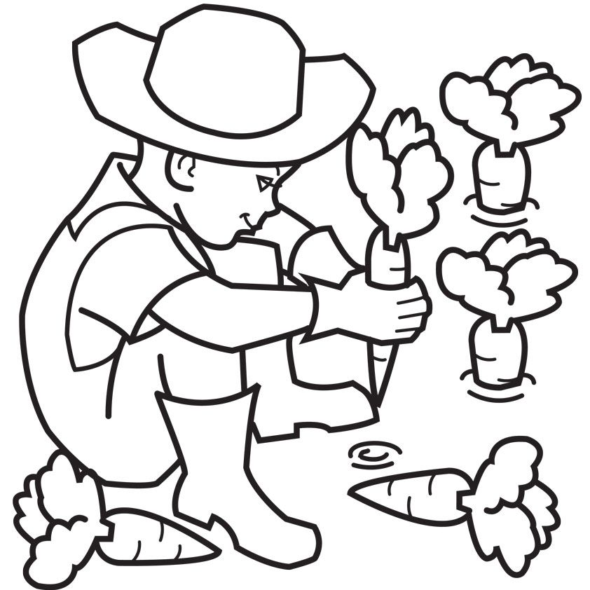 Farmer Coloring Page - Coloring Home