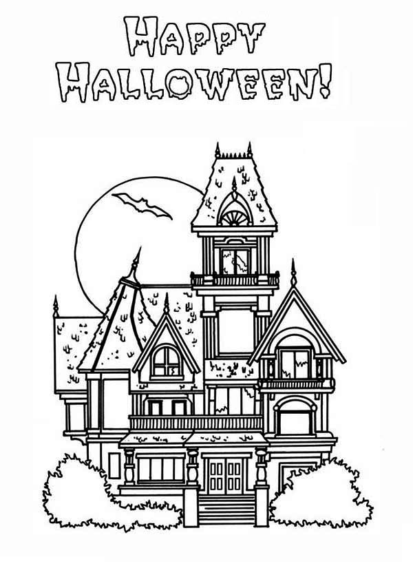 Halloween Coloring Pages Haunted House - Coloring Home