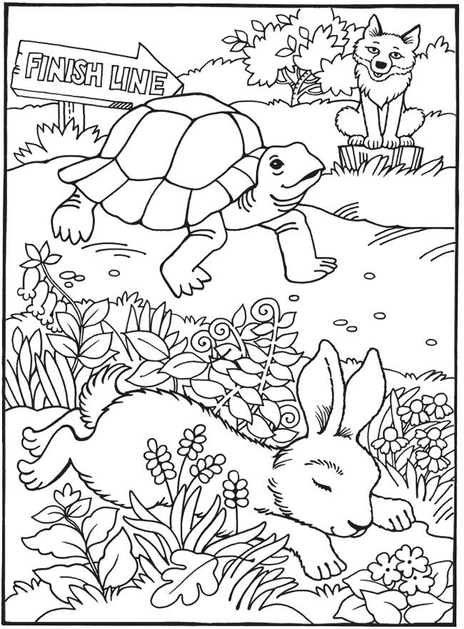 Tortoise And The Hare Coloring Pages Coloring Home