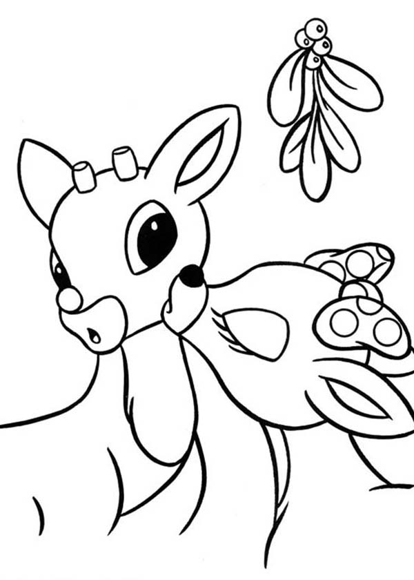 Clarice Kiss Rudolph the Red Nosed Reindeer Coloring Page | Color Luna