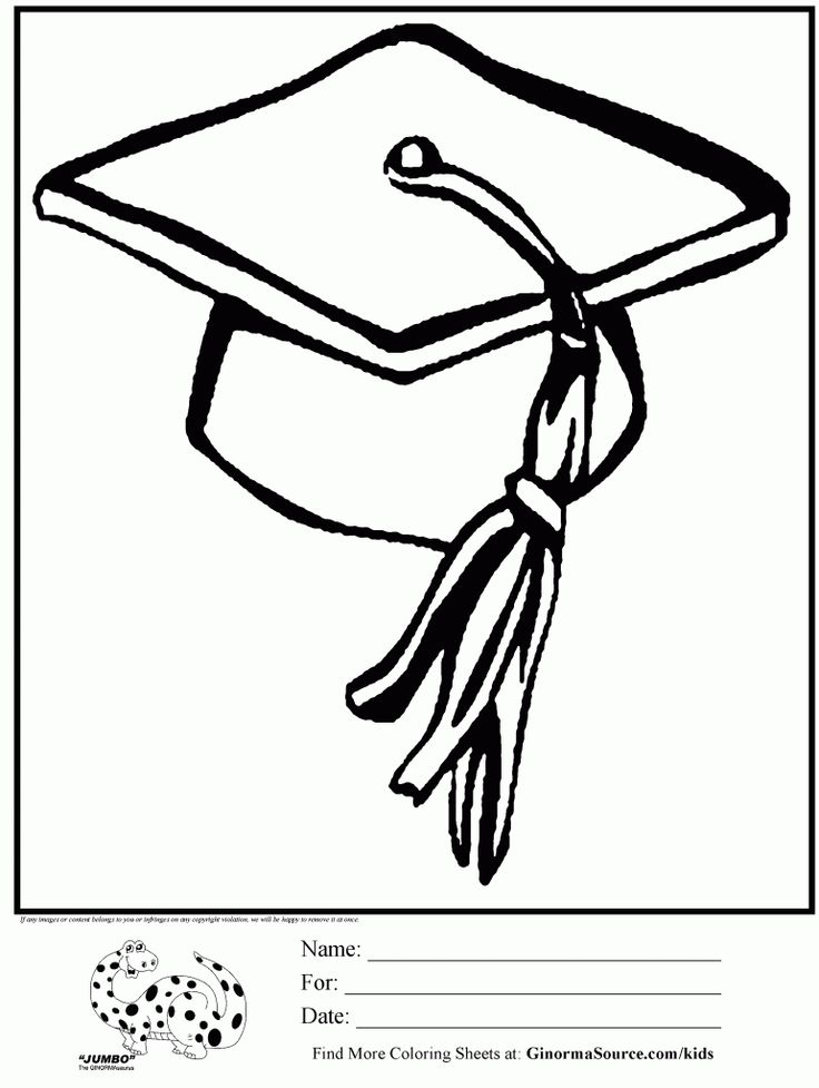 Graduation cap coloring page coloring home for Graduation coloring pages to print