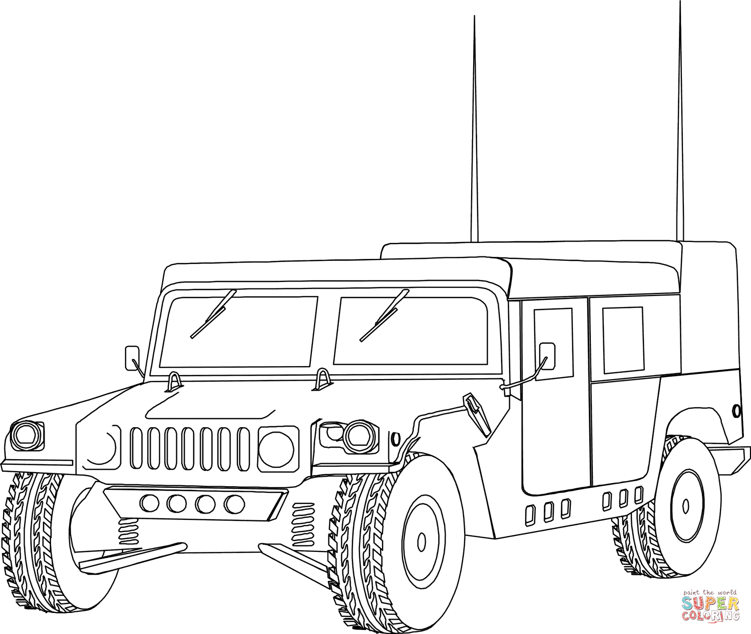 army vehicles coloring pages print - photo#12