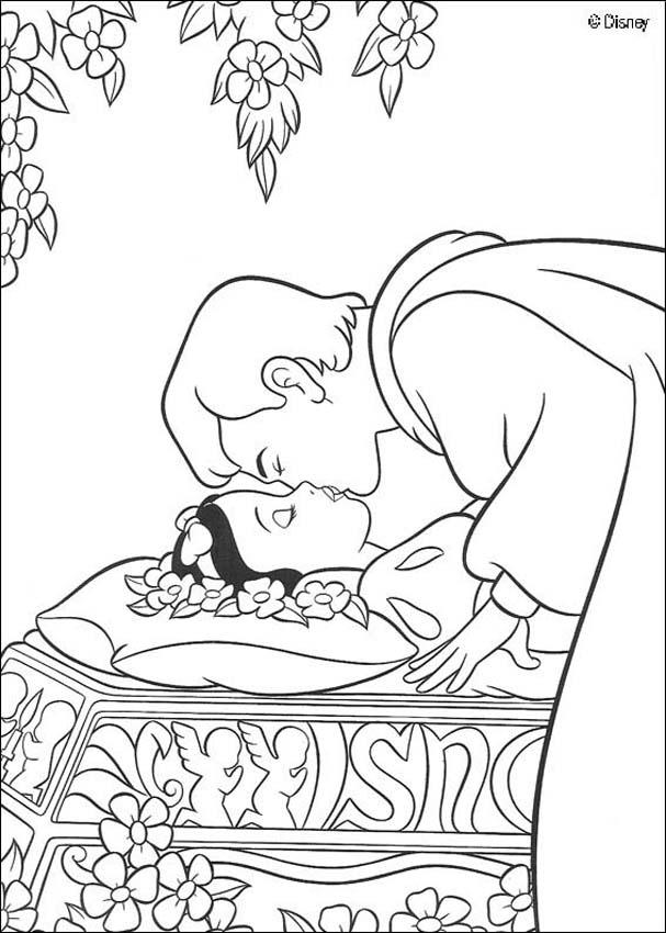 Snow White and the seven dwarfs coloring pages - Prince kissing ...
